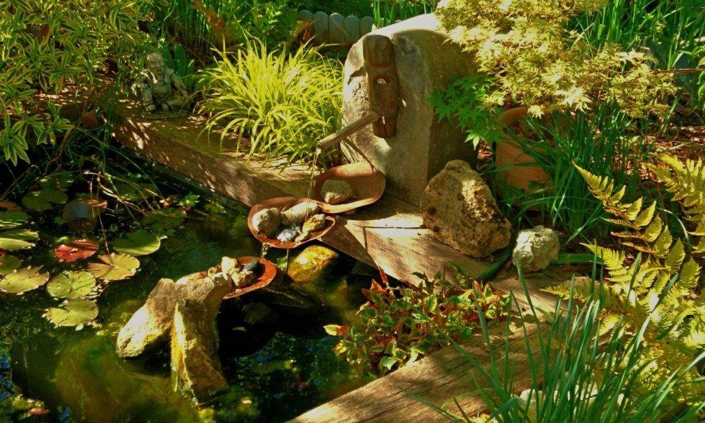 L'herbe du Japon trouvera une place dans tous les jardins, comme ici au bord d'une petite pièce d'eau.